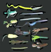 A lures conducive to slop fishing include a variety of soft plastics, frog and rat type baits, and weedless spoons.