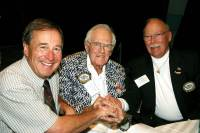 John L. Morris, Springfield, Mo.; George Parker, Kailua-Kona, Hawaii and Stu Apte, Tavernier, Fla., gather after their induction into the IGFA Fishing Hall of Fame & Museum in Dania Beach, Fla., Dec. 11, 2005.