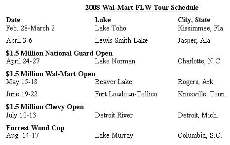 FLW Outdoors announces 2008 Wal-Mart FLW Tour schedule