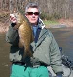 This 20+ inch April smallmouth from the Delaware River ate a Mizmo tube on a current break. Water temperature was 48 degrees.