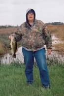 The author with a nice bass taken from a ditch in early Spring.
