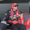 Kevin VanDam wearing an inflatable life jacket